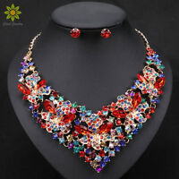 Fashion Trendy Nigerian Wedding African Beads Jewelry Sets Crystal Necklace Set