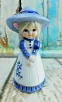 """Vintage Porcelain Girl w/Ponytails & Dress Figurine Bell 4-1/2"""" Tall"""