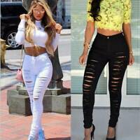 Women Ripped Jeans Denim Pencil Pants High Waist Stretch Skinny Trousers Jegging