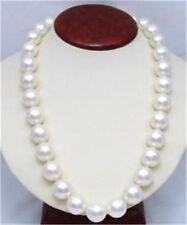 """14mm AAA White South Sea Shell Pearl Round Beads Necklace 25"""" LL003"""