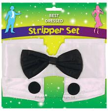 Stripper Naked Butler Buff Waiter Collar Cuffs Black Bow Tie Mens Fancy Dress
