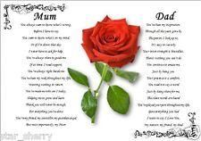 MUM & DAD - personalised gift (Laminated poem) -S2