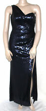 NEW Xscape SIZE 12P Navy Sleeveless One-Shoulder Sequin Floor Length Gown