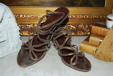 ANN MARINO HIGH HEEL GOLDEN BROWN LEATHER STRAPPY LADYS SANDALS SHOES SZ 7 1/2 M