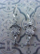 Sterling Silver Plated Cuckoo Clock   Earrings Lever backs New