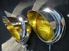 PAIR SMALL VINTAGE STYLE AMBER COLOR FOG LIGHTS WITH VISORS 12-VOLTS