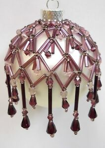 """PATTERN ONLY Beaded Christmas Ornament Cover Holiday Original """"Amethyst Drop"""""""