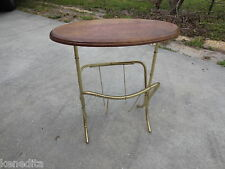 Gold Faux Bamboo Magazine Rack Metal Stand Newspaper Side Table Mid-century End
