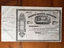 Wheatley Dramatic Association Philadelphia Pennsylvania 1860s Stock Certificate