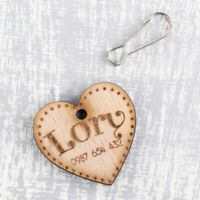 Personalised Wooden Pet ID Collar Cat Dog Tags 35mm Heart Shaped Custom Made