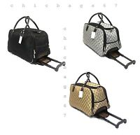 New Small GG Print Wheeled Travel Bag Holdall Luggage Cabin Trolley Weekend Case