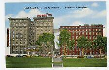Hotel Mount Royal & Apartments—Baltimore—Vintage Linen PC 1940s