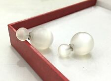 WHITE OPAL DOUBLE BALL BEAD STUD EARRINGS 14MM