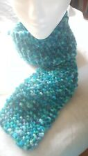 Winter Scarf Woman or Man Hand Knitted Multi Blue/Green Color