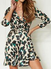 Womens Ladies Wrap Over Mini Dress  Leopard  Dress John Zack UK