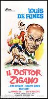IL DOTTOR ZIGANO LOCANDINA CINEMA DE FUNÈS MON POTE LE GITAN PLAYBILL POSTER