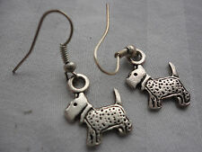Beautiful pewtertone 15mm Scottie dog terrier 2 gram 3cm pierced hook earrings