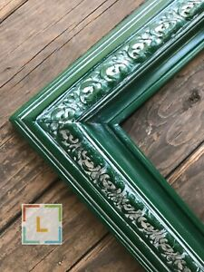 GREEN Shabby chic picture frames,custom picture frames,GREEN VINTAGE FRAME