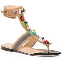 ebf0ea8bfa5f NIB Fendi Leather Rainbow Studded Gladiator Sandals Size 6   36 Auth -  995
