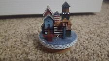 "LANG CANDLES LTD DECORATIVE BIRDHOUSES 2"" Small Candle Jar Topper Blues GUC"