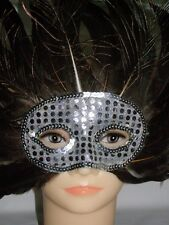 Beautiful Peacock Feather Attractive Party Mask, Silver