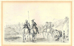 """Frederick Tayler, Antique Etching """"Riders. Military scene"""", signed in the plate"""