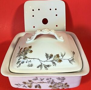 LEONARD VIENNA PORCELAIN BUTTER DISH ANTIQUE COVERED WITH INSERT 3 PIECE