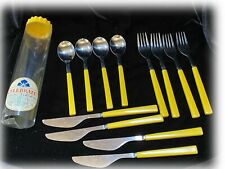 Vitg ANACAP Yellow Melamine Handle Stainless Flatware Forks Spoons Knifes 12 pc
