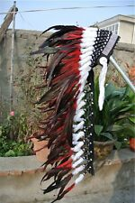 36INCH red indian feather headdress war bonnet American costume for halloween