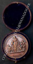 Médaille + Boite Instruction Primaire Loiret Chambon. 1876. Cuivre.