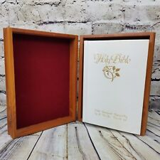 NEW - King James Bible White w/ Rose U.S.W.A. Local 63 w/ Lined Cedar Wooden Box