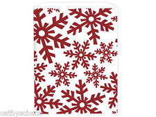 100 White Kraft Paper Red Snowflakes Frozen Christmas Bags Sacks Winter Holiday