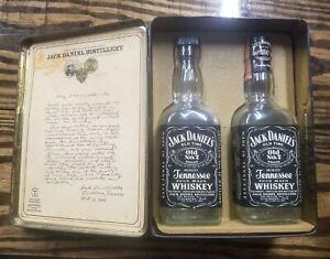 Jack Daniels Whiskey Vintage Tin Box 2 Empty Bottle Giftset Collectible