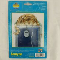 """Janlynn The Mouser Counted Cross Stitch Kit Computer Cat and Mouse 5"""" x 7"""" NIP"""