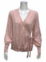 Isaac Mizrahi Long Bishop Sleeves Faux Wrap Ballet Sweater Pink Medium Size