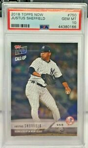 Justus Sheffield 2018 Topps Now 9/19/18 Call-Up RC #750 - PSA 10 GEM MINT - SP