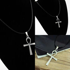 1x Round Genuine Leather Necklace Egyptian Ankh Cross Charms Pendant Choker