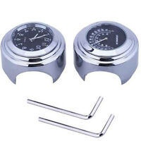 """7/8"""" Motorcycle Handlebar Black Dial Clock+Thermometer For Harley Glide 2pcs gsw"""
