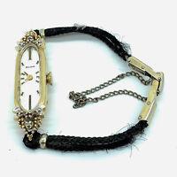 Vintage Bulova 14K Yellow Gold Diamond & Ruby Ladies Watch