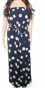 Lush Women's Jumpsuit Navy Blue US Size Small S Strapless Floral Print $79 020