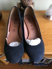 NEXT ladies size 6.5 wide fit navy suede low wedge court shoes.