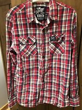 Mens Superdry Red Sheck Shirt Size Large