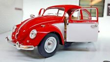 VW 1500 Beetle 1967 Car Red White 1:24 Scale Diecast Detailed Model 110364