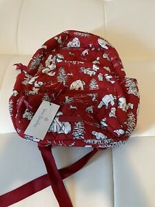 New Vera Bradley BEARY Merry RED Polar Bears Essential Compact Backpack