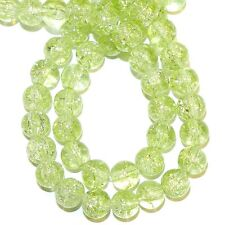 G1318 Light Peridot Green 8mm Round Crackle Glass Beads 32""