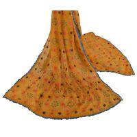 Tcw  Vintage Dupatta Stole Ooak Yellow Hand Embroidered Phulkari Shawl