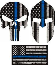 Punisher Skull American Flag Spartin Blue Line Kit Decal Sticker Graphic USA JDM