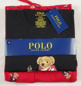 Polo Ralph Lauren Mens Pajama Set Red Black Bear Drawstring 100% Cotton M New