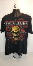 Disturbed Indestructible Heavy Metal Band Distressed T Shirt 2008 Black Large
