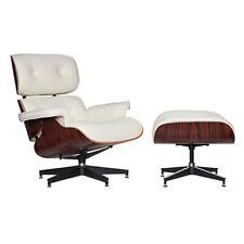 Retro White All Italian Leather Lounge Chair+ Ottoman Charles& Ray Eames Replica